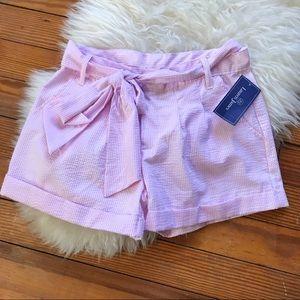 Lauren James NWT Pink Seersucker Bow Shorts